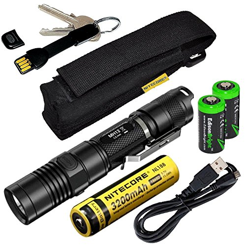 Nitecore MH12 CREE XM-L2 U2 LED 1000 Lumen USB Rechargeable Flashlight, 18650 rechargeable Li-ion battery, True Utility TU290B Keychain charger cord, standard USB charging cable and Holster with 2 X E
