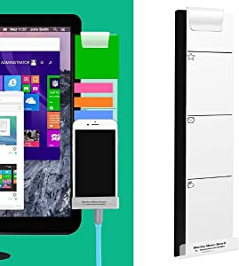 Monitor Memo Board Computer - Monitor Sticky Note Holder - Phone Message Memo Pad Charge Cable - Clip Transparent Message Creative Multifunction Paper Sticky Notes Boards for Cabinets Shelves Right