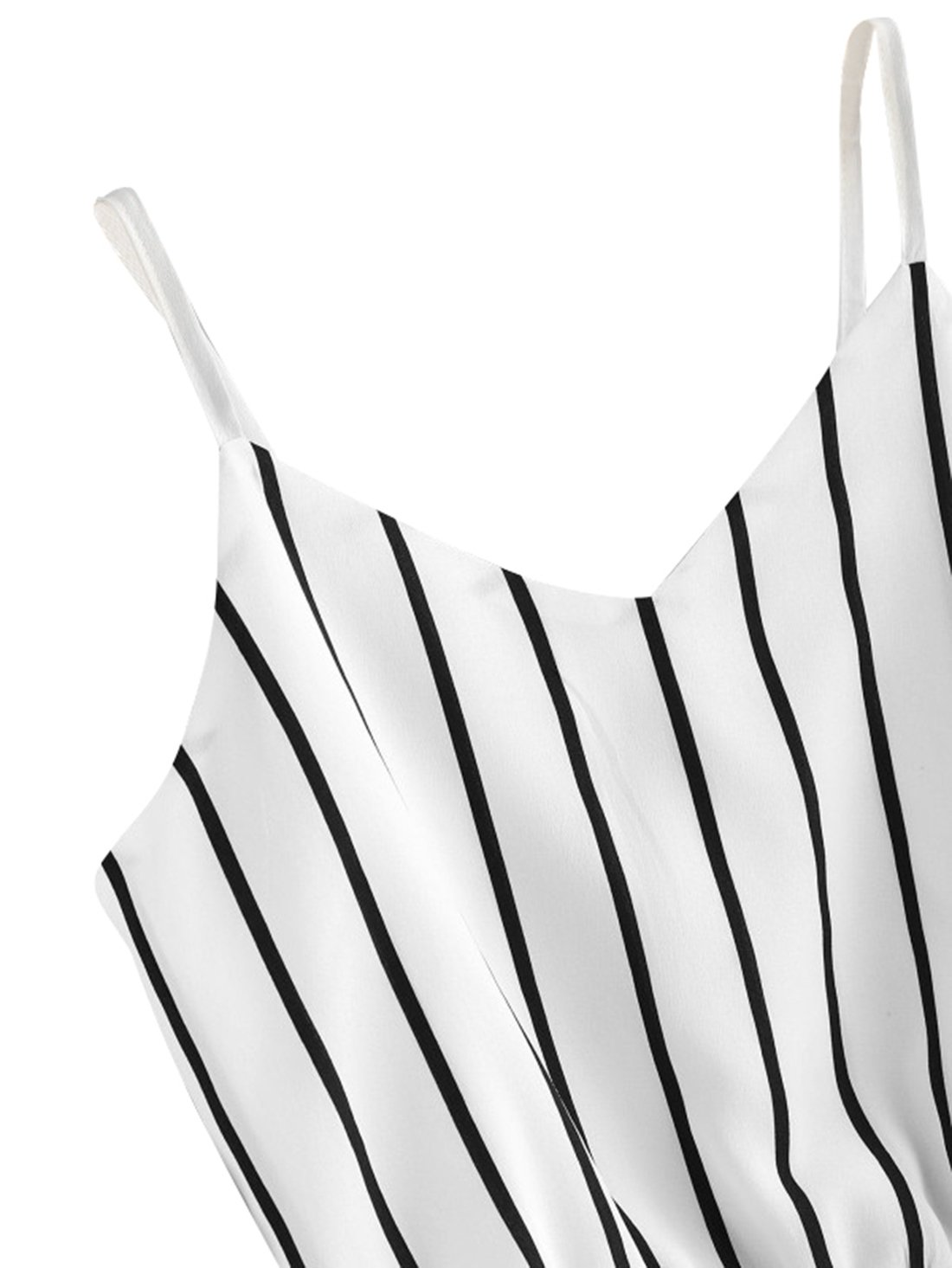 MakeMeChic Women's Self Tie Back V Neck Crop Cami Top Camisole 2-White Small by MakeMeChic (Image #4)