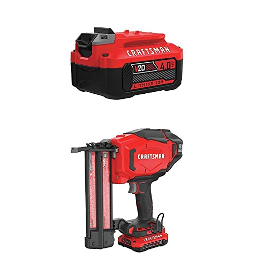 CRAFTSMAN V20 Cordless Finish Nailer Kit, 18GA with EXTRA Lithium Ion Battery, 4.0-Amp Hour CMCN618C1 CMCB204
