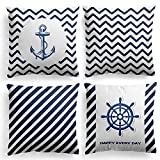 MIULEE Pack of 4 Decorative Geometric Marine Style Throw Pillow Cover Modern Quality Design Cotton Linen Burlap Square Outdoor Cushion Cover Pillow Case for Car Sofa Bed Couch 18 x 18 Inch