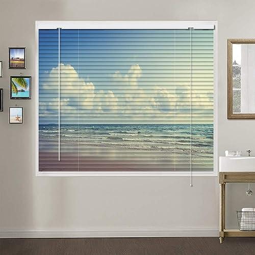Patterned Aluminium Mini Window Blinds, Premium 1-inch Light Filtering Horizontal Custom Blinds, 31 W x 84 L
