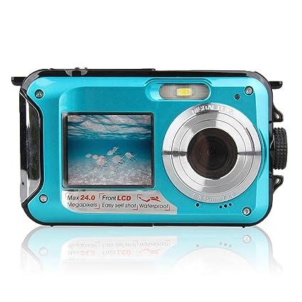 Doble Pantalla de la cámara subacuática HD Impermeable sesión fotográfica Deportes de grabación de vídeo de