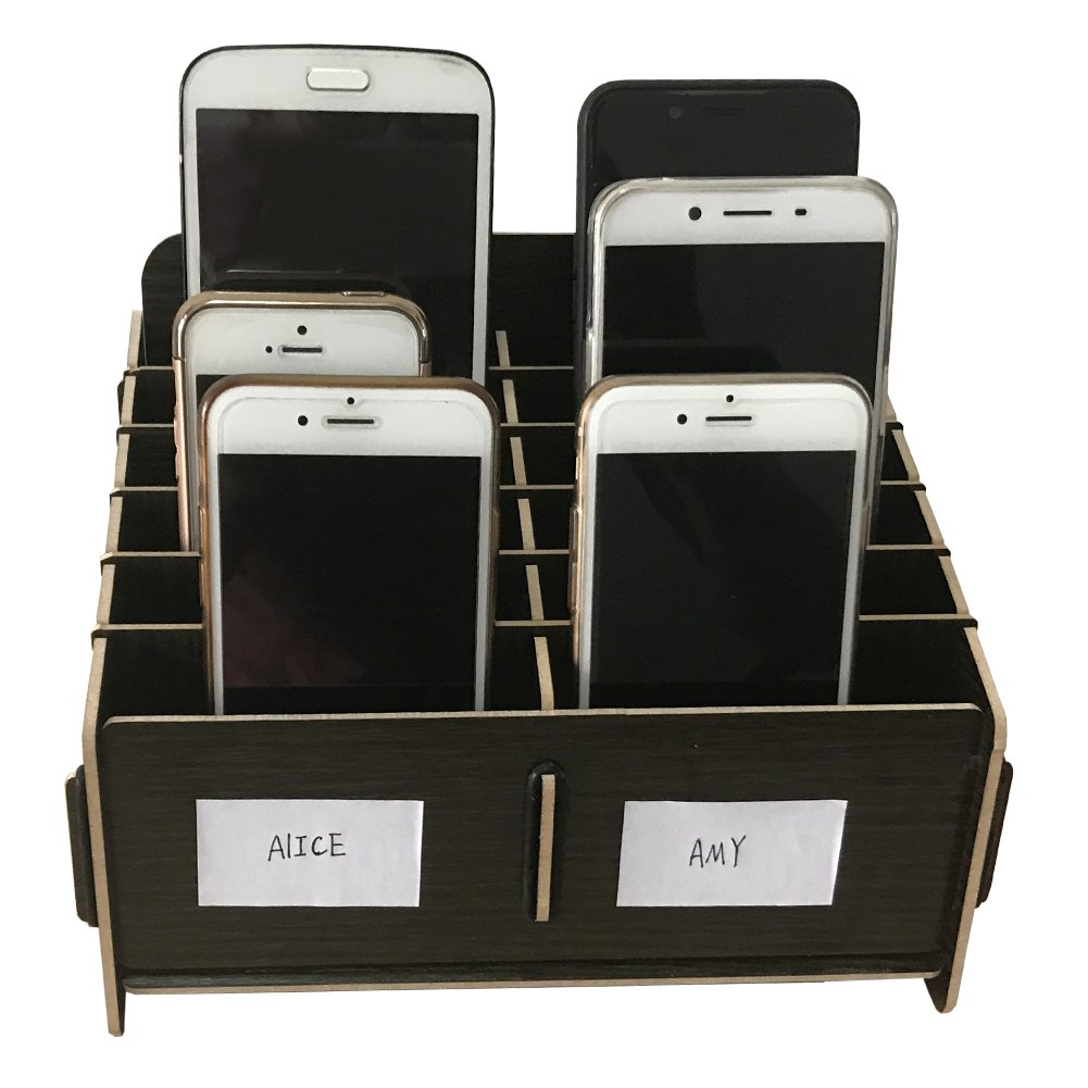 Loghot Wooden 12 Storage Compartments Multifunctional Storage Box for Cell Phones Holder Desk Supplies Organizer (Black) by Loghot (Image #4)
