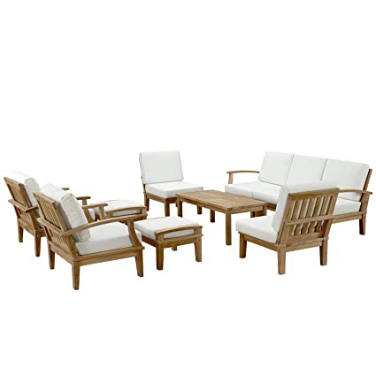 Amazon Com Modway Marina Teak Wood 10 Piece Outdoor Patio