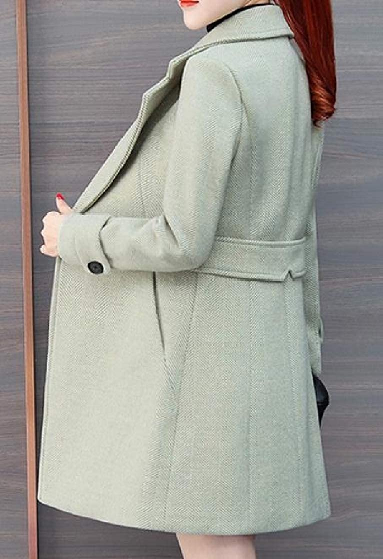 YUNY Womens Blazer Thick Woolen Winter Silm Fit Trench Coat Outwear Green S