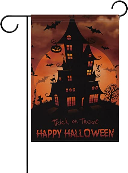 Naanle Halloween Haunted House Full Moon Polyester Garden Flag 28 X 40 Double Sided Trick Or Treat Decorative House Flag For Party Home Outdoor Decor Garden Outdoor