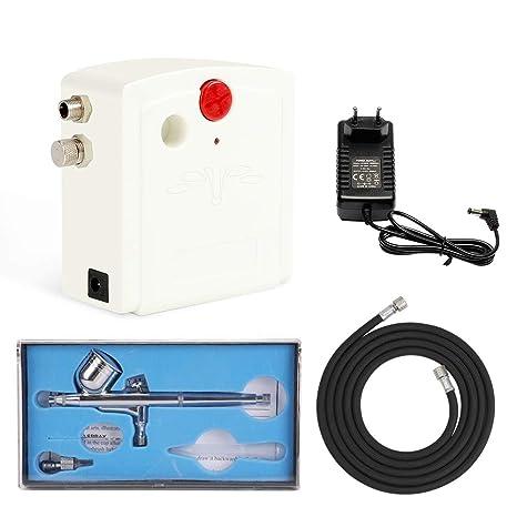 FOBUY 100-250V Mini Kit Aerógrafo Profesional de Alimentación de Gravedad de Doble Acción Kit