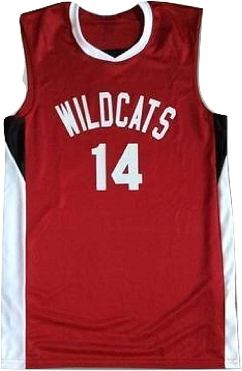 Zac E Troy Bolton 14 East High School Wildcats Red Basketball Jersey