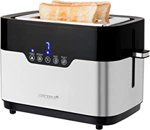 Secura Toaster 2 Slice Bagel Bread Stainless Steel Extra Wide Slots with Defrost Reheat Auto Shut Off Function Removable Crumb Tray