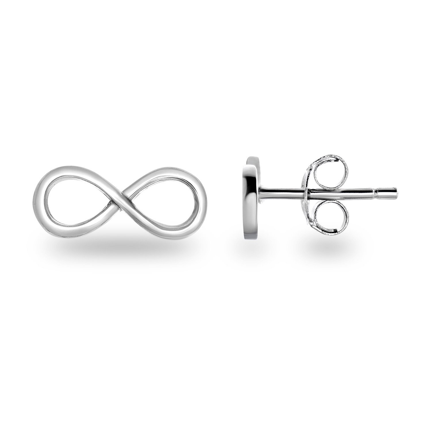 Spoil Cupid Rhodium-Plated Sterling Silver Plain Infinity Symbol Stud Earrings