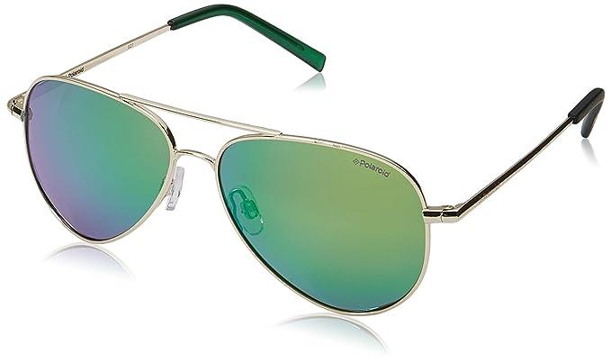 Polaroid Kids Metal Aviator Gafas de sol en oro verde azul espejo polarizadas PLD 8015/N J5G 52 K7