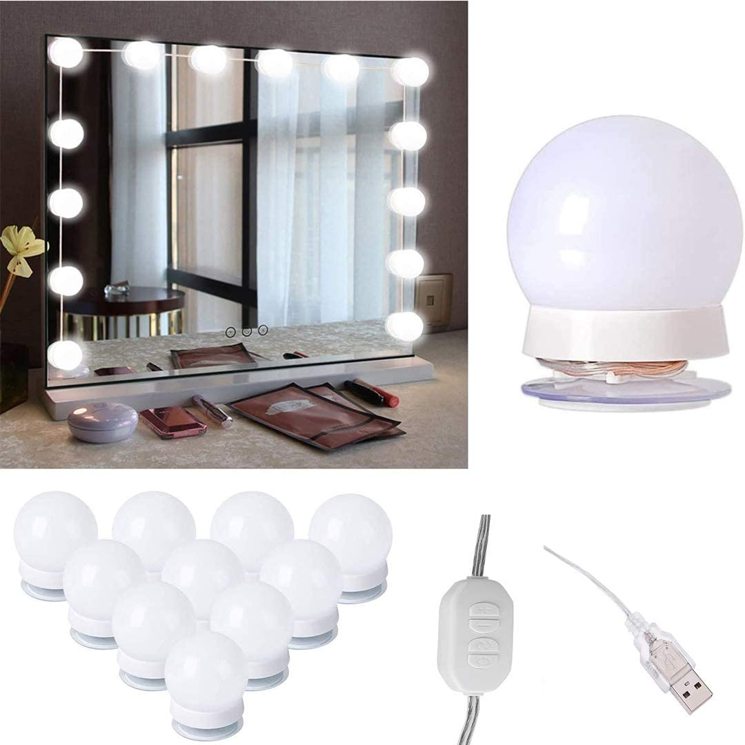 LED Vanity Mirror Lights Kit Hollywood Style with 10 Dimmable Bulbs 5.6M//18.37FT 3 Lights Modes 3000K-6500K 10 Adjustable Brightness for Full Body Length Makeup Mirror /& Bathroom Wall Mirror