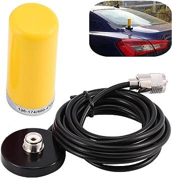 Zerone Antena de radio móvil VHF/UHF de doble banda para vehículo con soporte magnético para radio de dos vías Walkie-Talkie, color amarillo