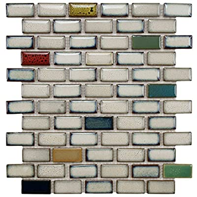 "SomerTile FSDESWCS Essentia Subway Cascade Porcelain Mosaic Floor and Wall Tile, 11.875"" x 12"", White/Brown/Blue/Beige/Yellow/Red/Green/Black"