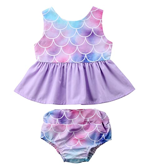 255c54d0db3d Newborn Baby Girl Clothes Mermaid Fish Scale Tutu Ruffle Dress with Shorts  Pants Toddler Infant Little