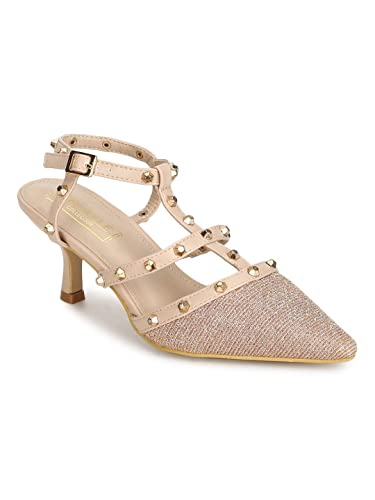 7a221684af TRUFFLE COLLECTION Rose Gold Nude Studded Strappy Kitten Heels: Buy Online  at Low Prices in India - Amazon.in