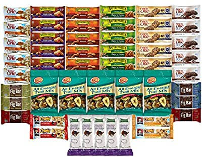 Healthy Bars & Energy Blend Snack Care Package (50 Count) - Nature Valley Granola Bars, Fiber One, Kashi, Kars Trail Mix & More