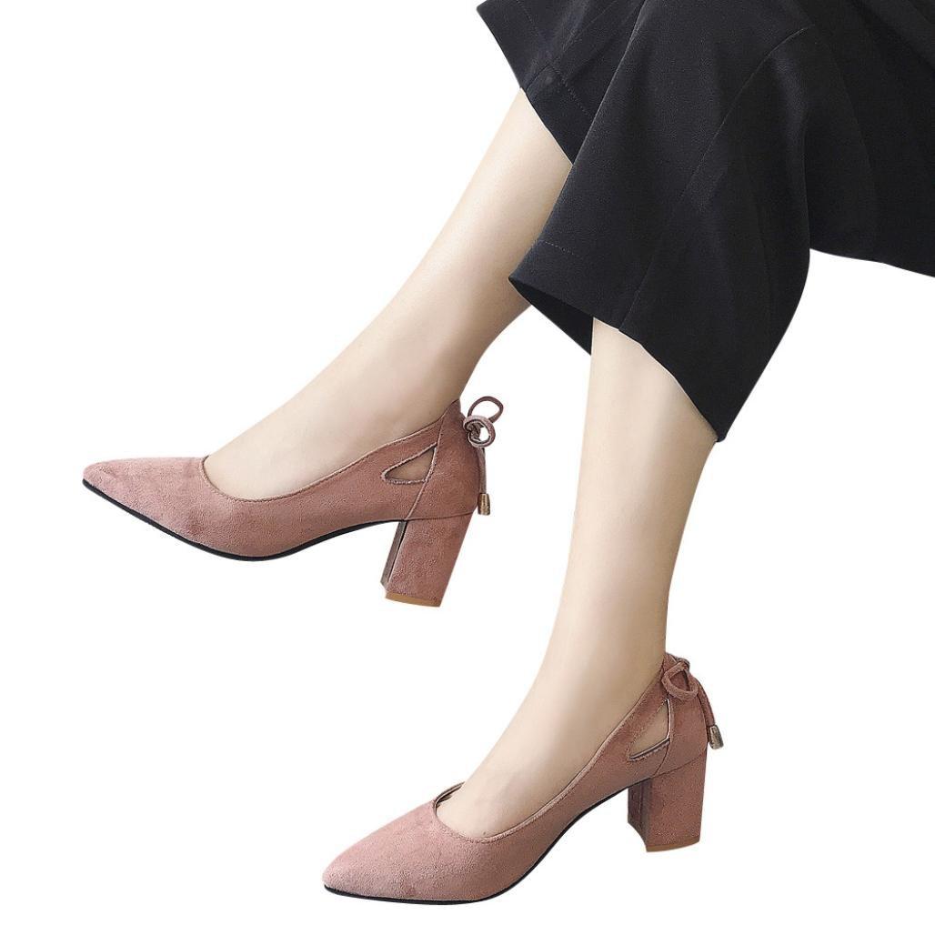 Zapatos de Tac/ón Ancho Alto Cu/ña Fiesta Primavera 2019 PAOLIAN Calzado Vestir Terciopelo Moda Dama Hueco Chic Casual Zapatos con Punta Noche Bowknot Talla Grande Oto/ño