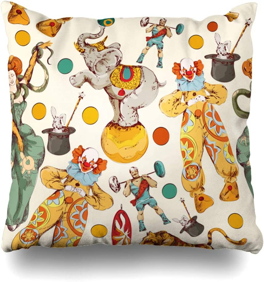Ahawoso Throw Pillow Cover Pattern Vintage Circus Clown Magical Carnival Wand Elephant Strongman Fairy Tape Design Fire Home Decor Pillowcase Square Size 20 x 20 Inches Zippered Cushion Case