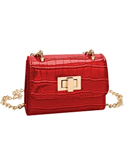 Himpokejg Fashion Vintage Glossy Faux Leather Metal Strap Kids Girls Mini Messenger Shoulder Bag-Red