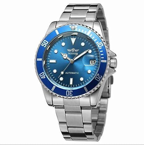 Winner Reloj para Hombres Reloj mecánico automático Cubierta Posterior Transparente Cubierta con 3 Puntos de Acero
