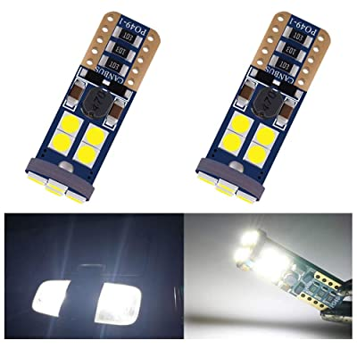 2-Pack T10 194 168 921 400Lums White Extremely Bright No Polarity Canbus Error Free LED Light 12V-18V,12-SMD 3030 Chipsets Car Replacement Bulb For 168 2825 Backup Reverse Side Marker Light: Automotive