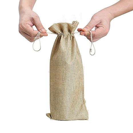 Bolsas de vino de yute - Bolsas de vino de botella de arpillera, 13,4 x 5,9 pulgadas Bolsas de vino de embalaje con bolsa de regalo de lazo de boda ...