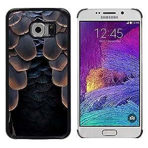 Plumas de aves Cuervo Negro de Halloween- Metal de aluminio y de plástico duro Caja del teléfono - Negro - Samsung Galaxy S6 EDGE (NOT S6)