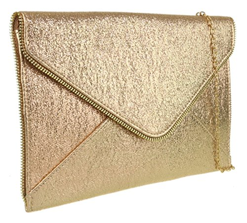Girly Girly HandBags Gold Bag Clutch Zip HandBags Trim 1BqxOdwq
