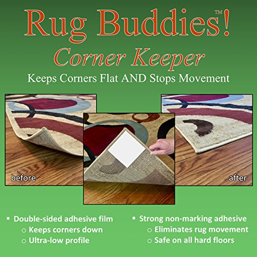 8' Pvc Grip (Rug Buddies Corner Keeper! Rug Gripper that Instantly Stops Rug Movement AND Flattens Corners. Adheres to Floor AND Rug with NO RESIDUE. Rug Anchor thats Easy to Install! 8 Pieces Included for 2 Rugs!)