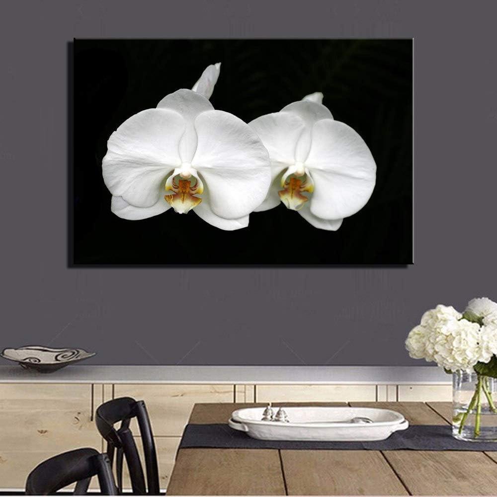 PatTheHook Pintura Al Óleo Pintada A Mano,Flores Blancas Mariposas Cuadros Al Óleo Imágenes En Negro Tierra De Arte De Pared Carteles De Salón Dormitorio Decoración,100×160Cm.