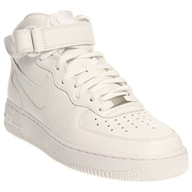c083f1869b33f9 Nike Men s Air Force 1 07 Mid White Ankle-High Leather Fashion Sneaker -