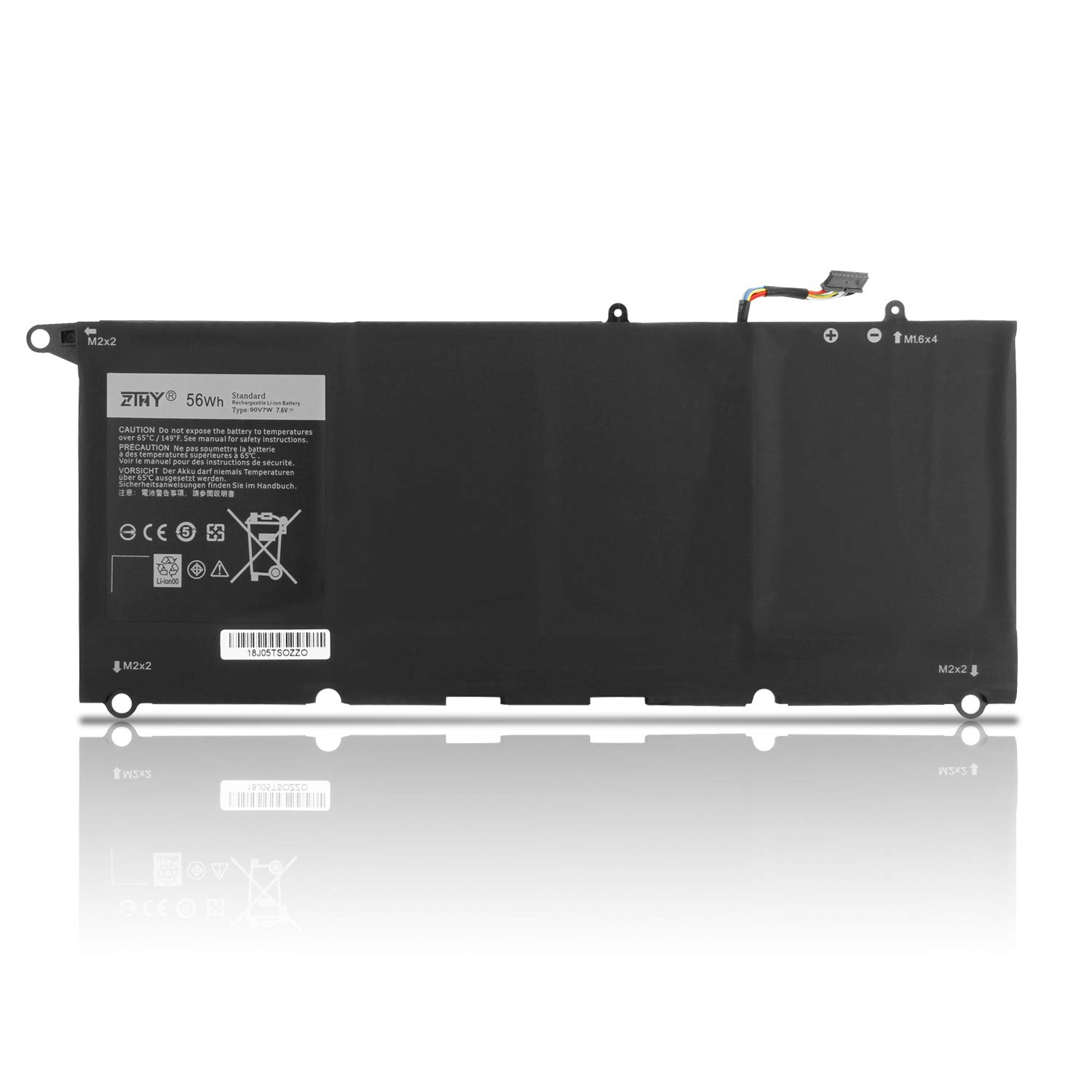 New 90V7W Laptop Battery Replacement for Dell XPS13 XPS 13 9343 9350 XPS13-9350-D1608 XPS13-9350 Notebook 5K9CP DIN02 9OV7W 56WH 4-Cell 7.6V 7435mAh by ZTHY