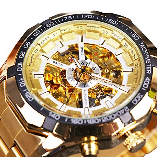 Skeleton Automatic Mechanical Watch Gold Self-Winding (with Manual Winding) for Mens Stainless Steel Watch Waterproof Luminous -