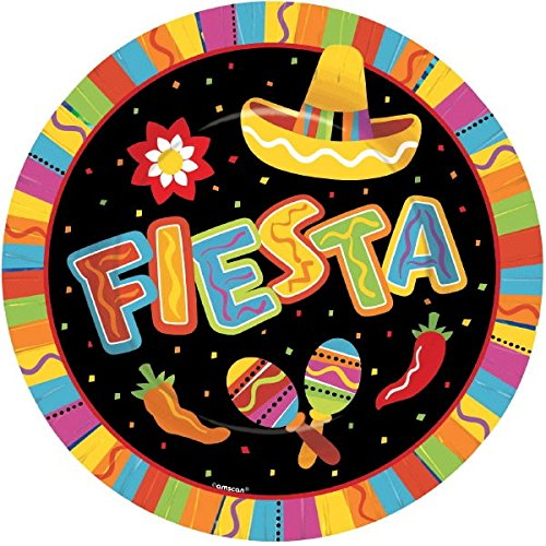"Amscan Fiesta Fun Cinco de Mayo Party Round Dinner Plates Tableware, Paper, 10"", Pack of 8"