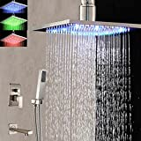 "Huanyu Instrument Ceiling Mounted LED Square Rain Shower Head Tub Spout Hand Shower Mixer Tap (16"" (40cm))"