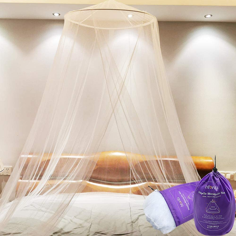 Weehey htovila Universal Mosquito Mesh Net Easy Installation Dome Hanging Bed Canopy Netting for Single to King Size Beds Hammocks Cribs with Storage Bag White