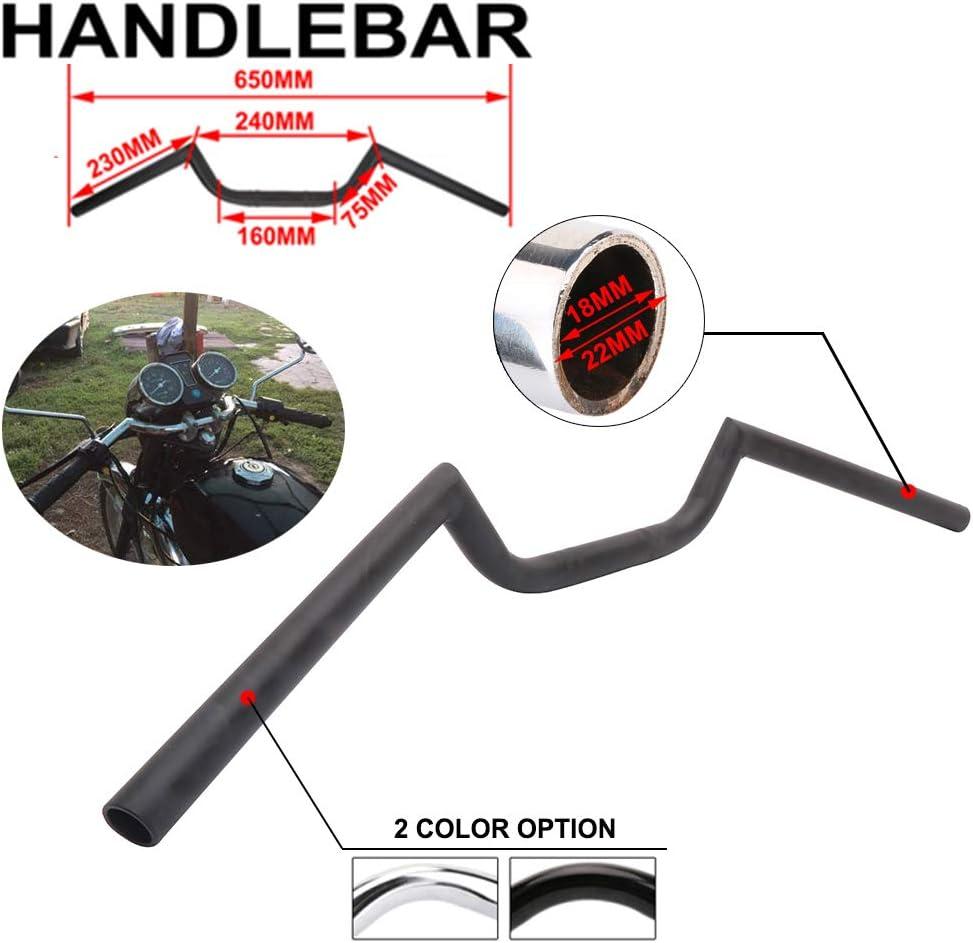 YSMOTO Guidon de Moto en Fer chrom/é Style Cafe Racer Ace Clubman Universel 22 mm pour Harley Davidson Bobber