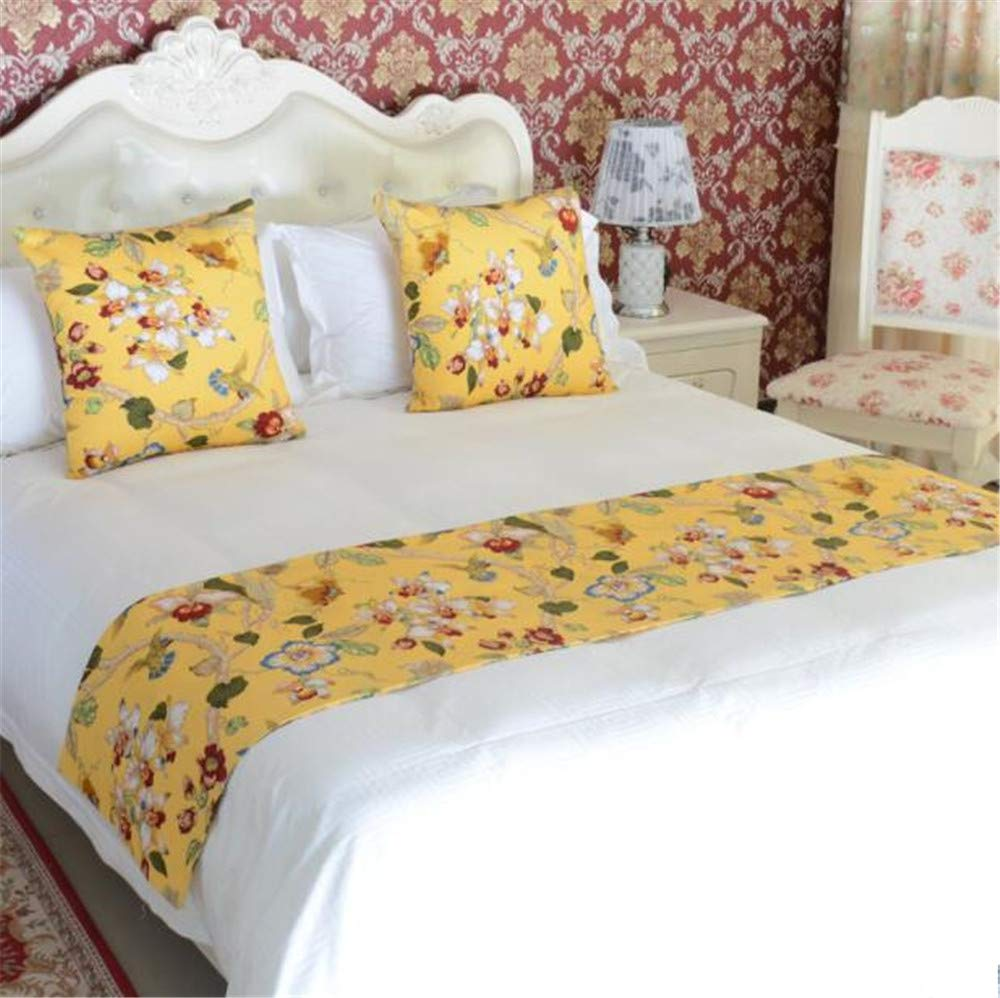 Bed Runner for Foot of Bed Queen Yellow Floral, 94'' x 19'' Luxurious Bed End Scarf for Bedroom Hotel