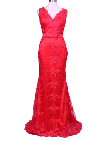 Stillluxury Mermaid Evening Gowns Plus Size Lace Prom Dresses Long V Neck Open Back Red Size