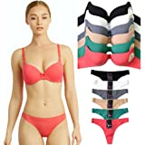 4134b9abf090c Uni Style Apparel Womens Full Cup Laser Cut Push Up Bra and No Show Thong  Panty