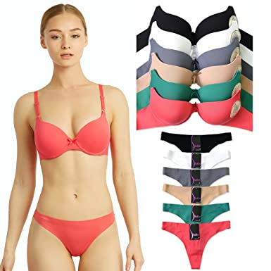 b22ab274c3182 Uni Style Apparel Womens Full Cup Laser Cut Push Up Bra and No Show Thong  Panty