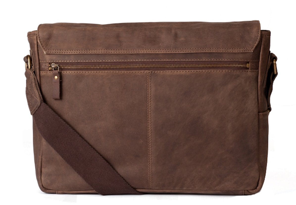 Navali Leather Mainstay Computer Messenger Bag, Brown by Navali (Image #2)