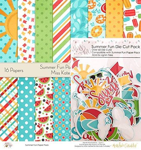 Cut Scrapbooking Die Stickers - Die Cuts & Paper Set - Summer Fun - by Miss Kate Cuttables - 16 Single - Sided 12