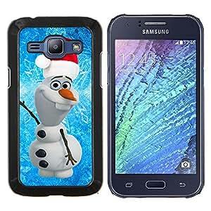 KLONGSHOP // Cubierta de piel con cierre a presión Shell trasero duro de goma Protección Caso - Navidad de Santa azul Invierno - Samsung Galaxy J1 J100 //