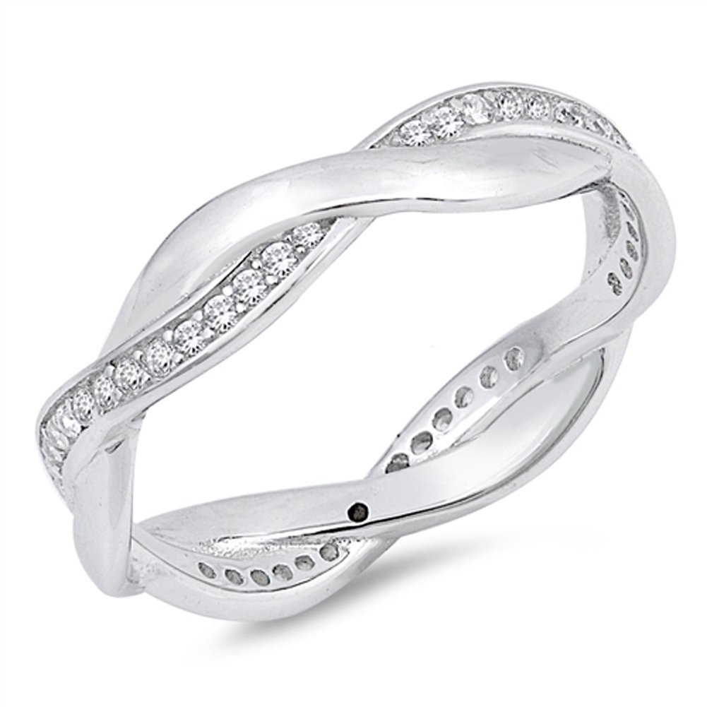White CZ Criss Cross Knot Eternity Wedding Ring Sterling Silver Band Size 7
