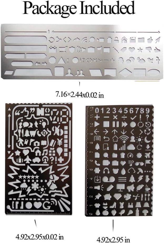fittoway 3/in 1/Edelstahl Schablonen tragbar Zeichnen Graffiti Web UI//Anzahl Alphabet Multifunktions Vorlage Lineal