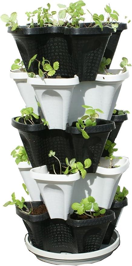 Vertical Garden Planters >> 5 Tier Black Grey Stackable Strawberry Garden Vertical Gardening Planter Set
