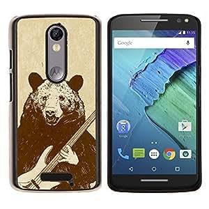 EJOOY---Cubierta de la caja de protección para la piel dura ** Motorola Moto X3 3rd Generation ** --Roca del oso de la guitarra
